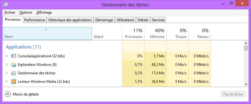 mémoire Windows 8 Task manager