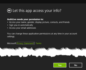 authorize live access application windows 8