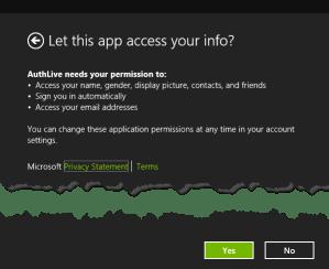 authorize live access application windows 8