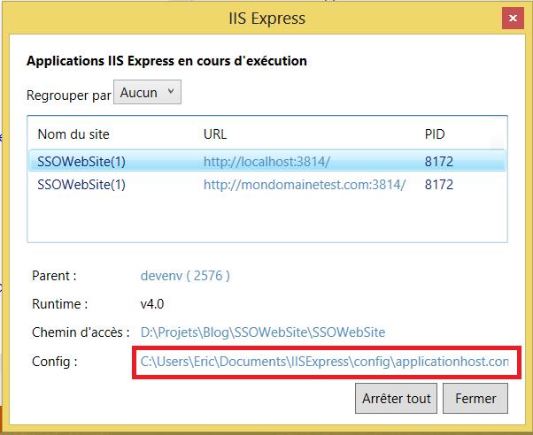 IIS Express fichier configuration