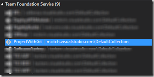 vue sous Visual studio 2012 de git