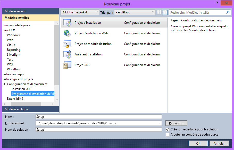 Visual Studio 2010 programme installation