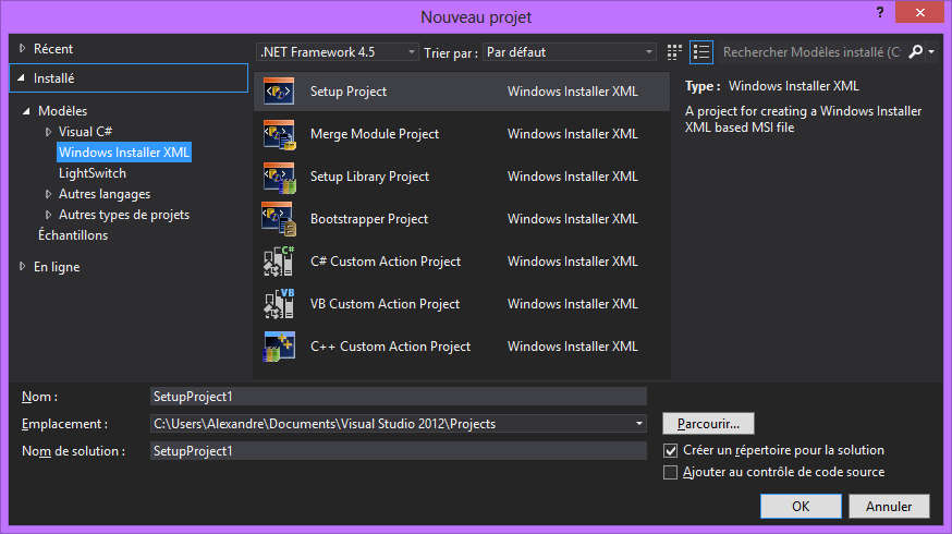 Visual Studio 2012 Wix template project