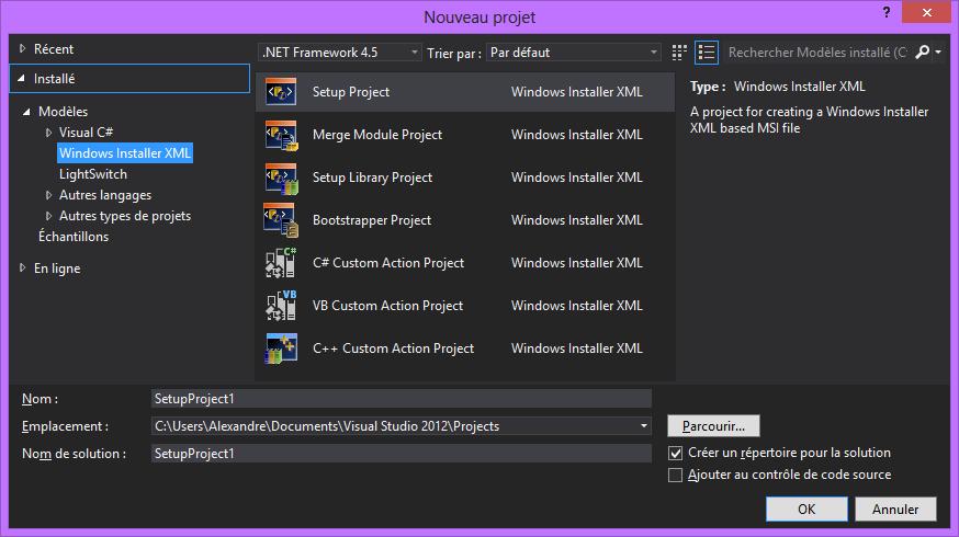Comment créer un installeur avec Visual Studio 2012 et Wix ?