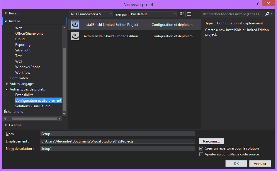 Visual Studio 2012 configuration et deploiement