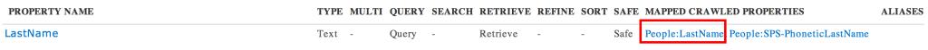 Recherche SharePoint Online : Propriété gérée LastName