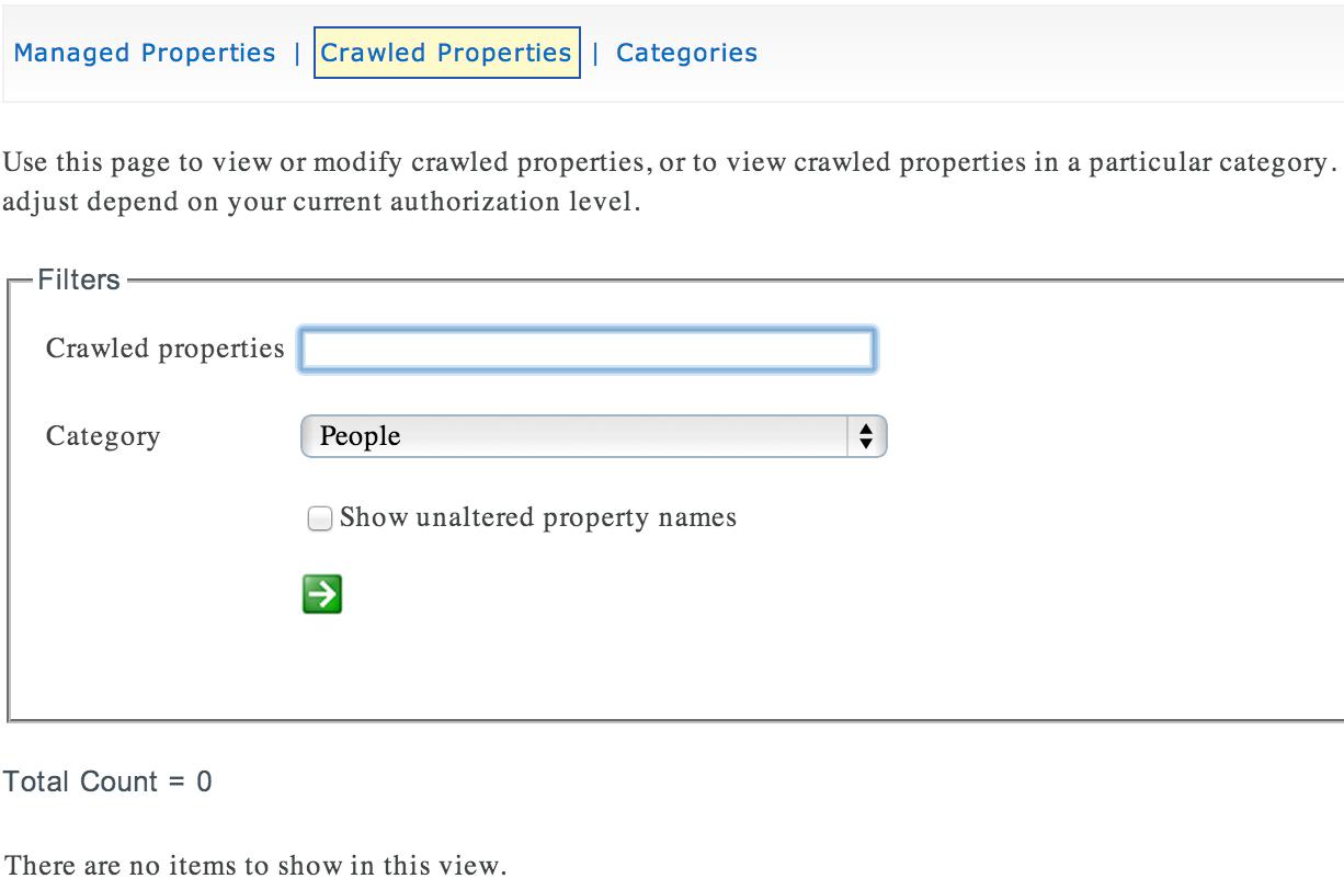Recherche SharePoint Online : Aucune propriété gérée n'est visible pour la catégorie personnes