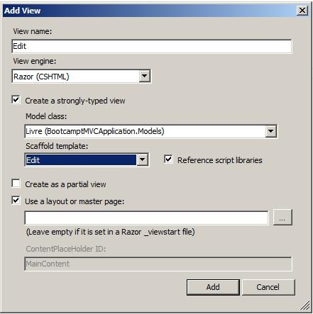 ASP.NET MVC 4 formulaire d'edition