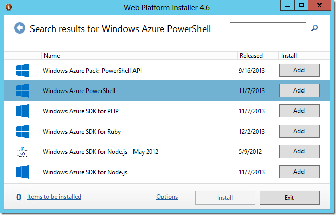 install windows azure powershell