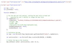 Déclaration de l'url de l'API Bing maps et la création d'une méthode d'initialisation
