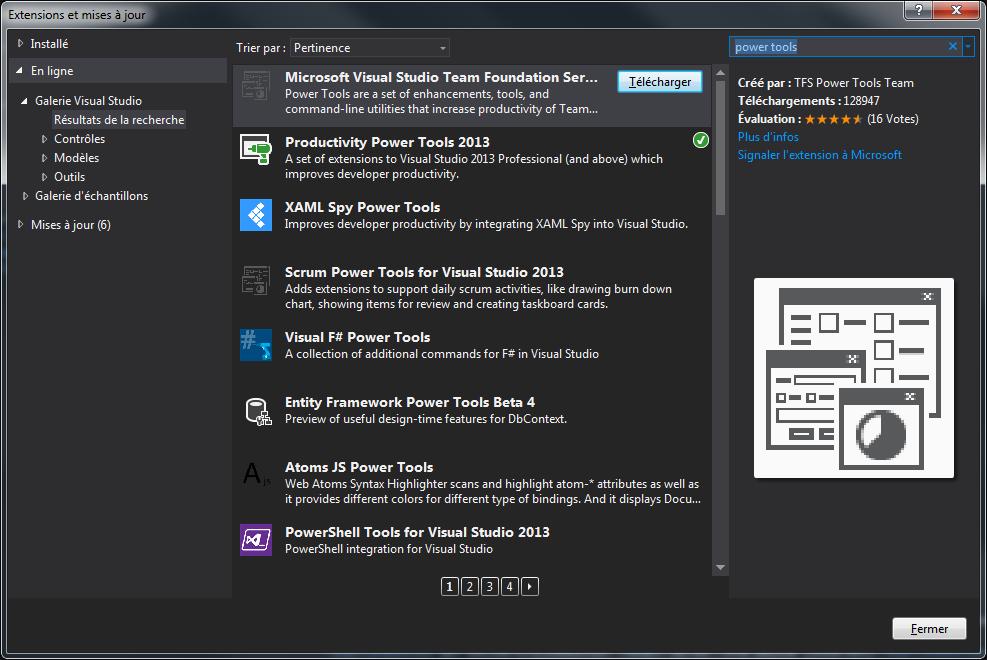 Visual Studio - Extensions et mises a jour
