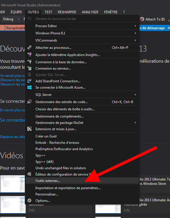 Visual Studio - Outils externes...