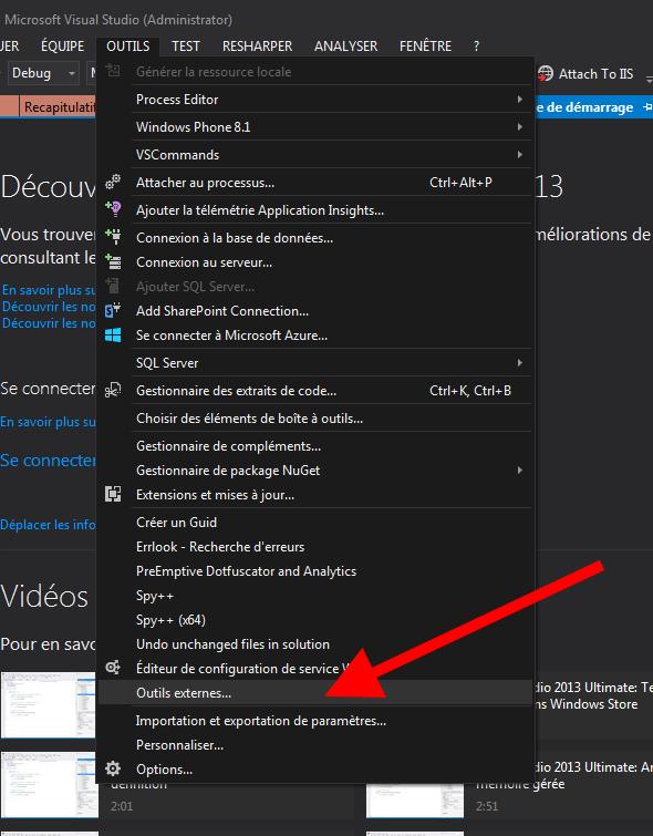 Visual Studio - Outils externes...