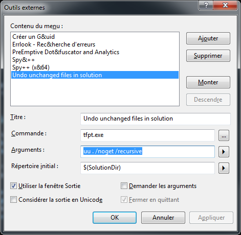 Visual Studio - Outils externes