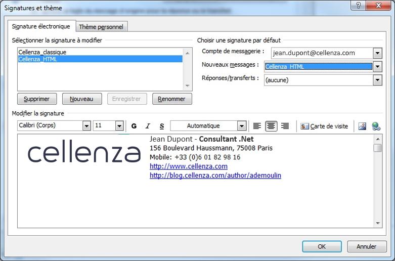 Comment créer une signature Outlook en HTML