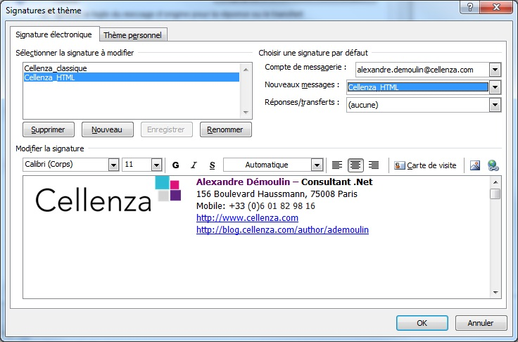 Comment cr er une signature outlook en html cellenza blog for Outlook 2010 signature template
