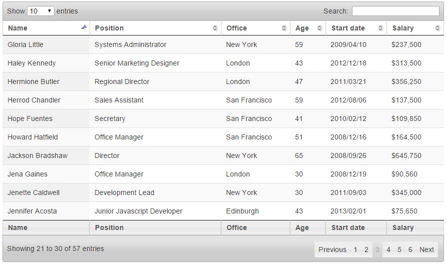 Datatables jquery avec ASP.NET MVC 5 – 2ème partie