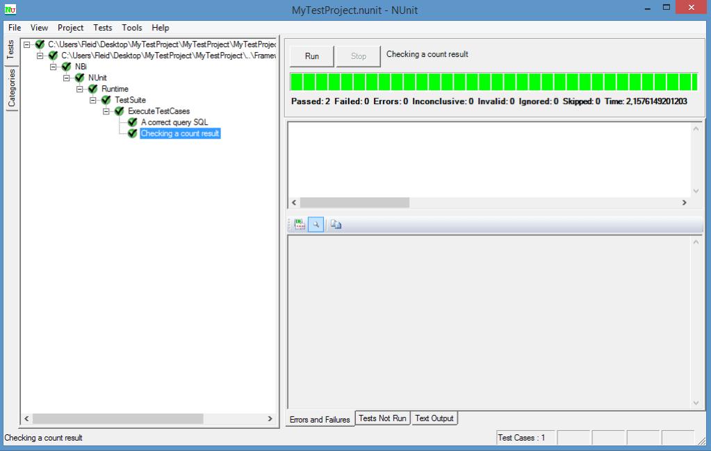 Exécution d'un test NBi avec NUnit GUI