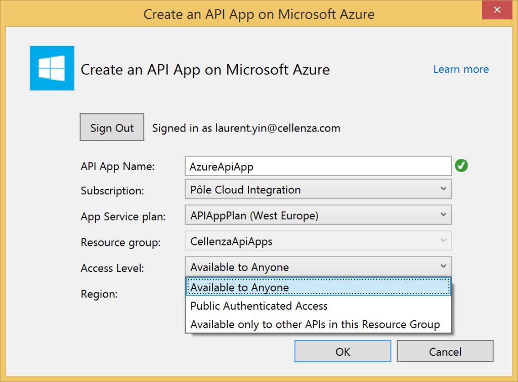 Create Azure API App