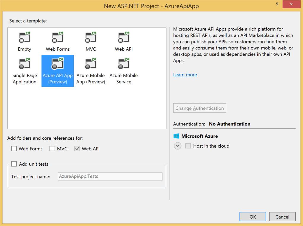 New Azure API App