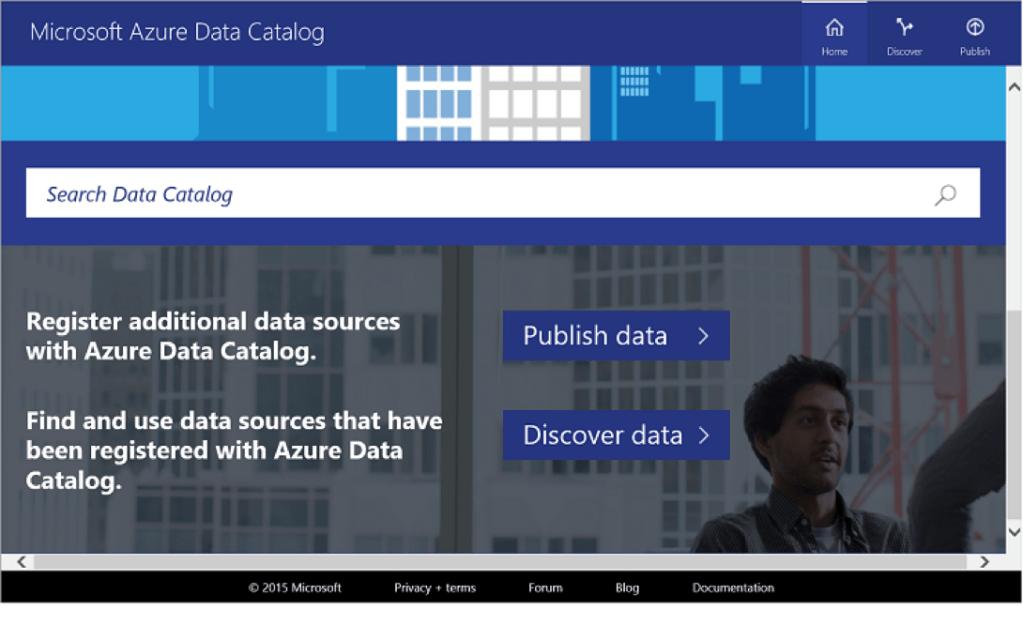 Screenshot d'Azure Data Catalog en Preview