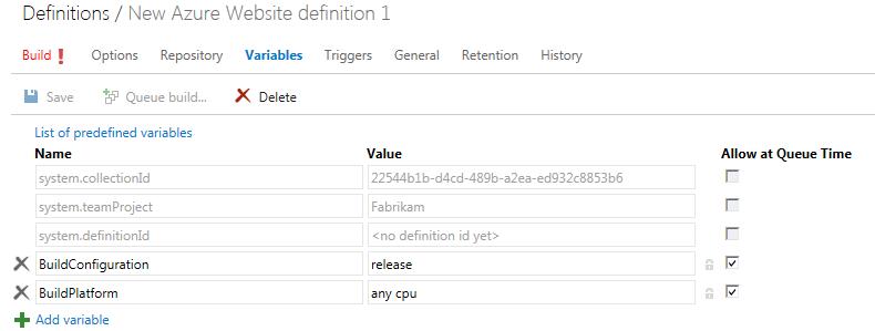 build vnext variables