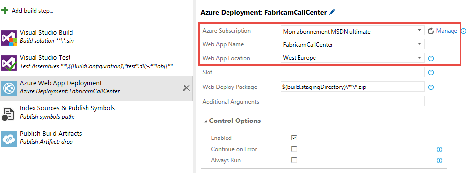 build vnext azure