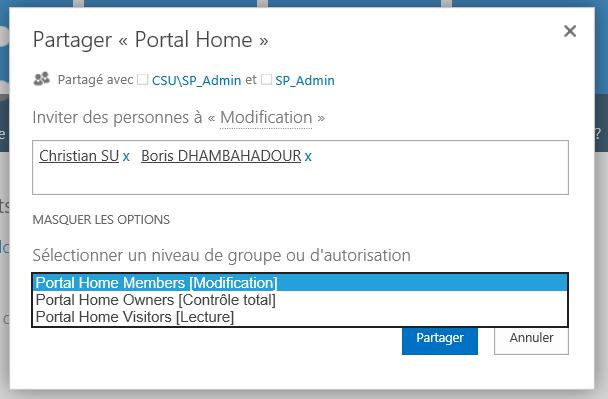 L'écran de partage de contenu sur SharePoint 2013