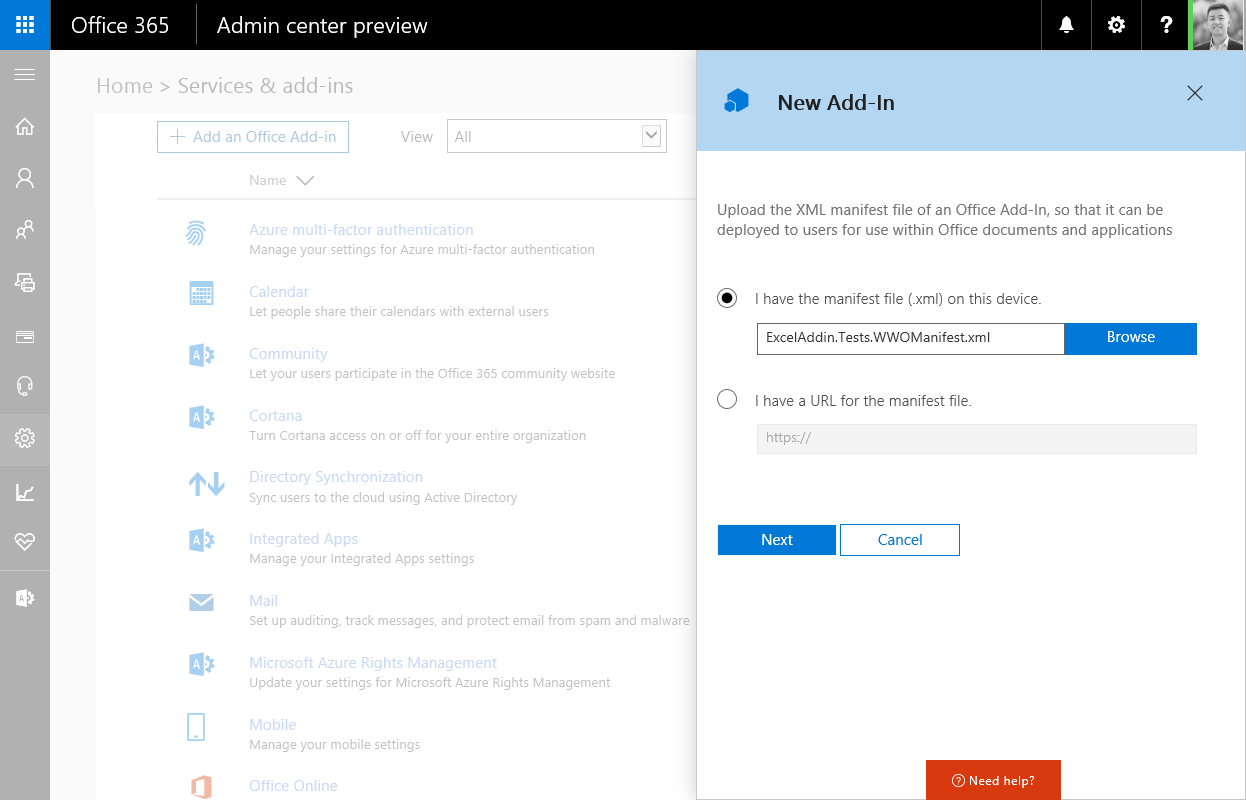 Déploiement d'Add-in sur Office 365