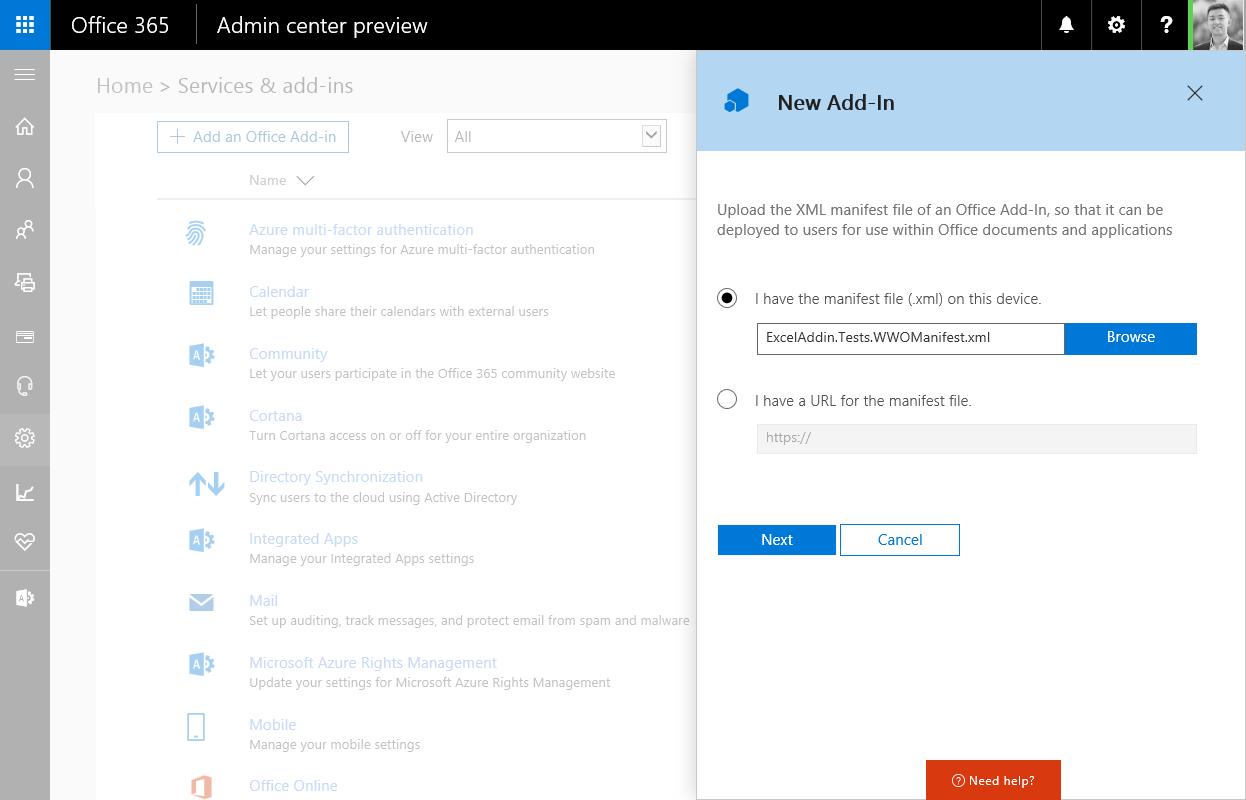 Déploiement d'Add-in sur Office 365