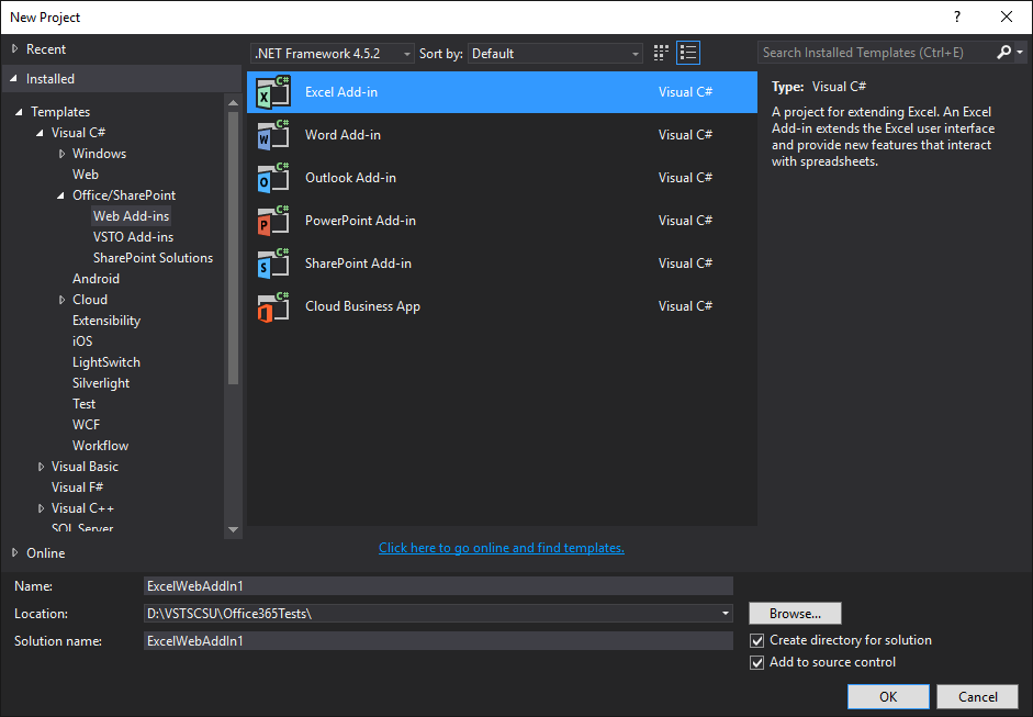 Types de Web Add-ins Office dans Visual Studio 2015 Update 2