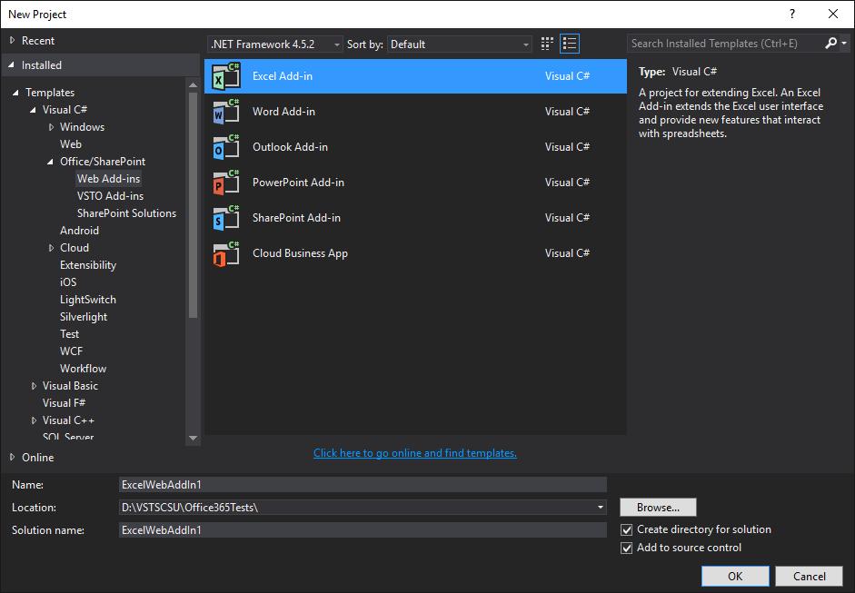 Types de Web Add-ins Office dans Visual Studio 2015 Update 2