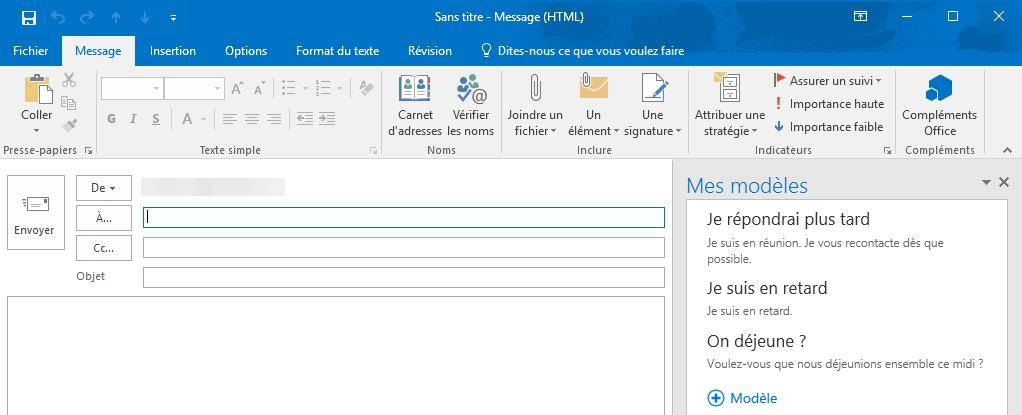 """Add-in """"Templates"""" de Microsoft qui propose d'insérer des messages prédéfinis dans vos e-mails"""