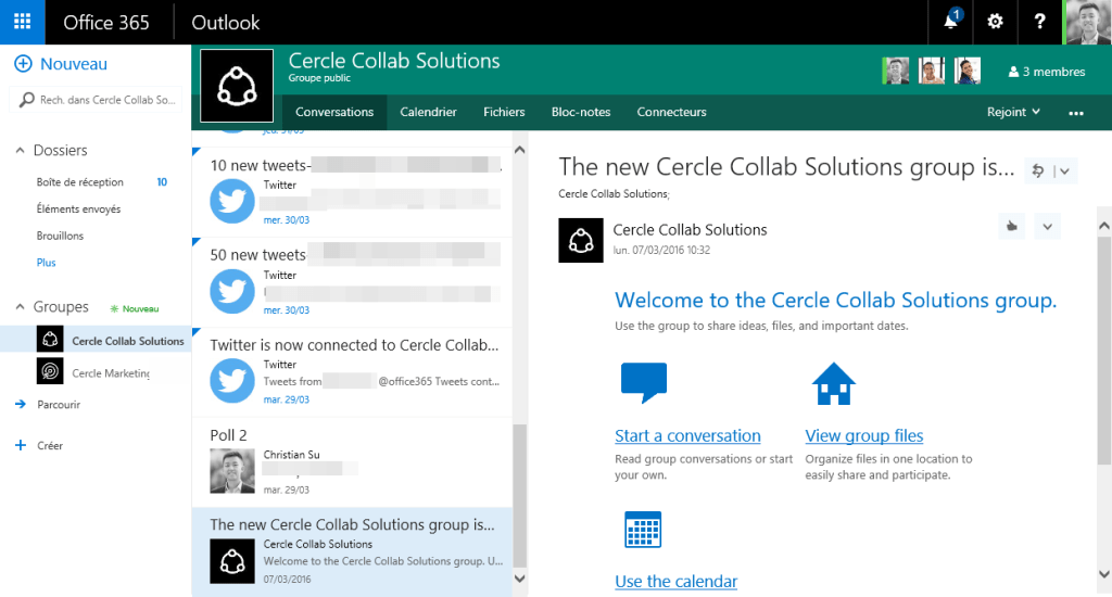 Interface Outlook Web App pour les groupes Office 365