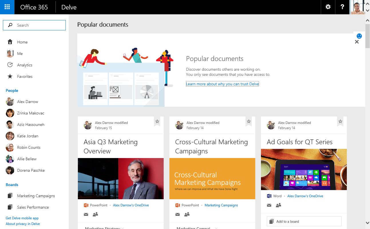 Delve sur Office 365 : un next-gen portal