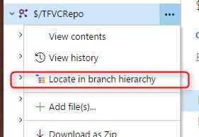 Visualiser hiérarchie branches projet TFVC vsts menu locate branch