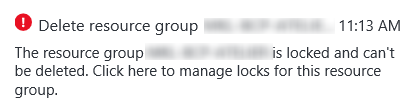 Azure Resource Group locked