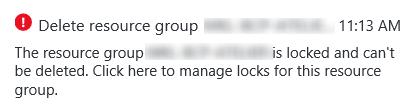Azure Resource Group locked