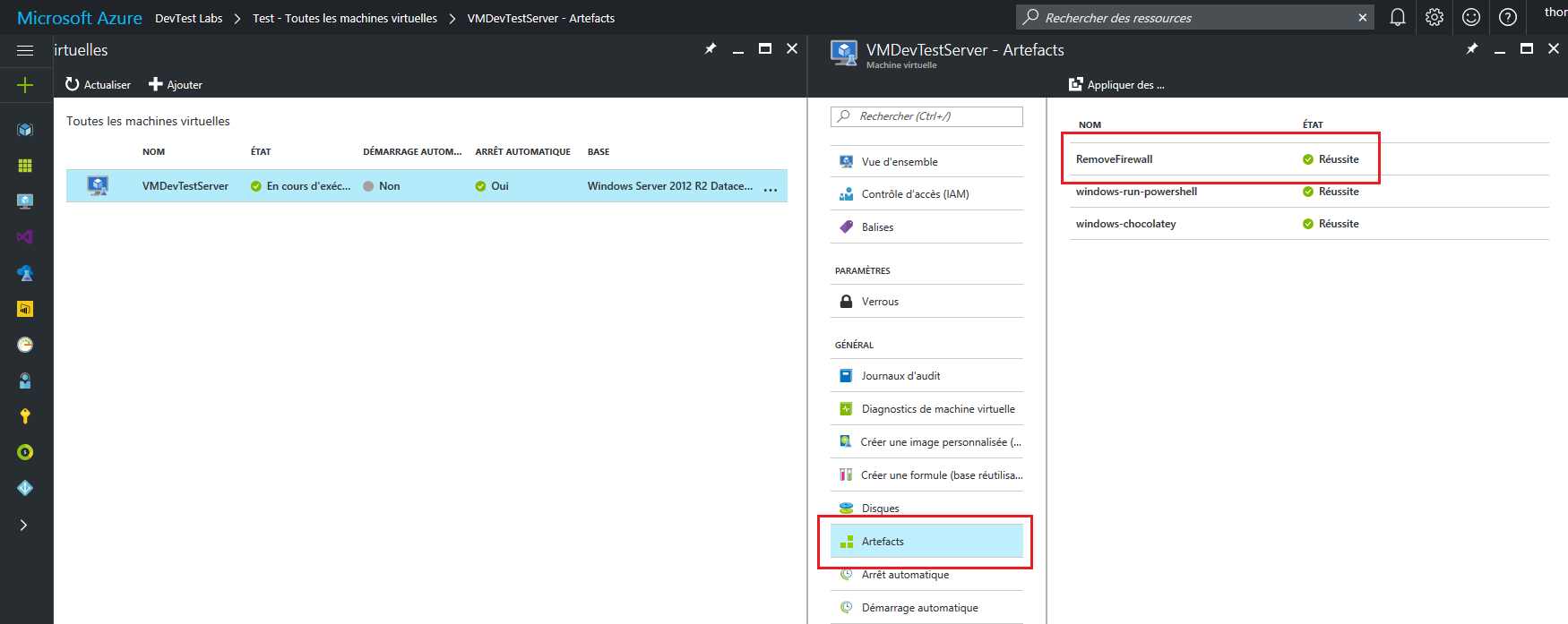 Azure DevTest Lab - Vérification application artefact