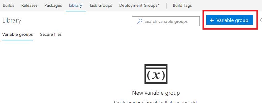 Rajouter groupe de variables dans VSTS