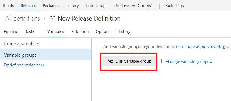 Link variable group VSTS