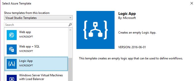 choix du template de Logic App