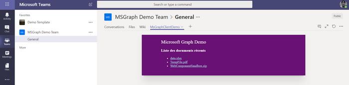 La même web part sur Microsoft Teams
