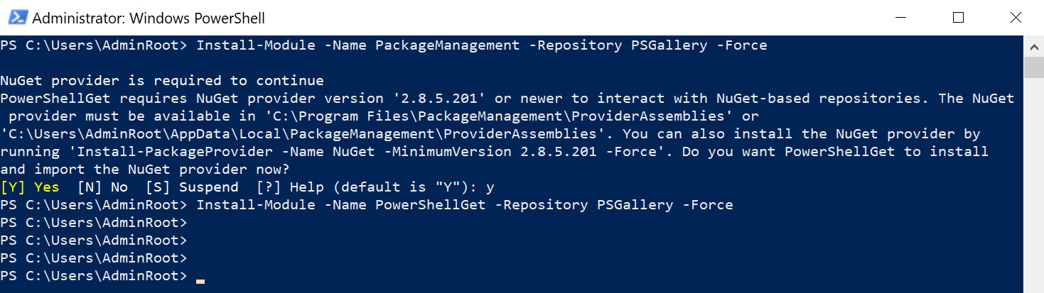 1. Installer les packages PackageManagement et PowerShellGet