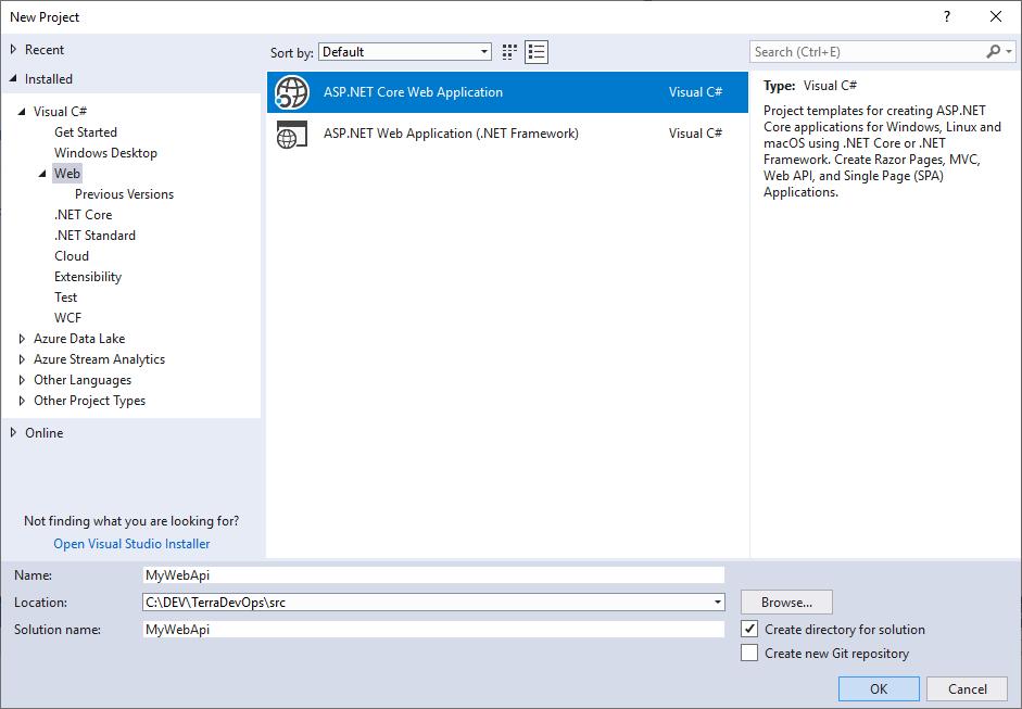 Création d'une API ASP.NET Core dans le répertoire src\