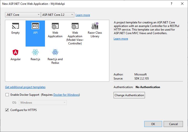 Création d'une API ASP.NET Core dans le répertoire src\ 2