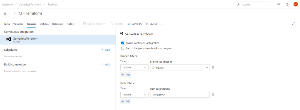 Terraform build Azure DevOps