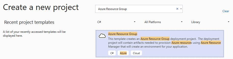 nouveau projet de type Azure Resource Group