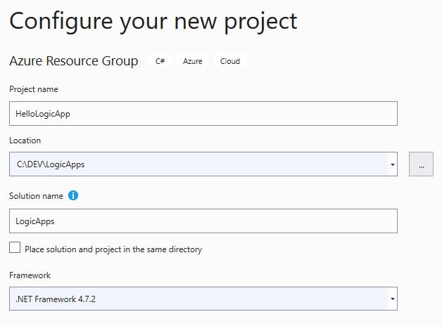configuration d'nouveau projet de type Azure Resource Group