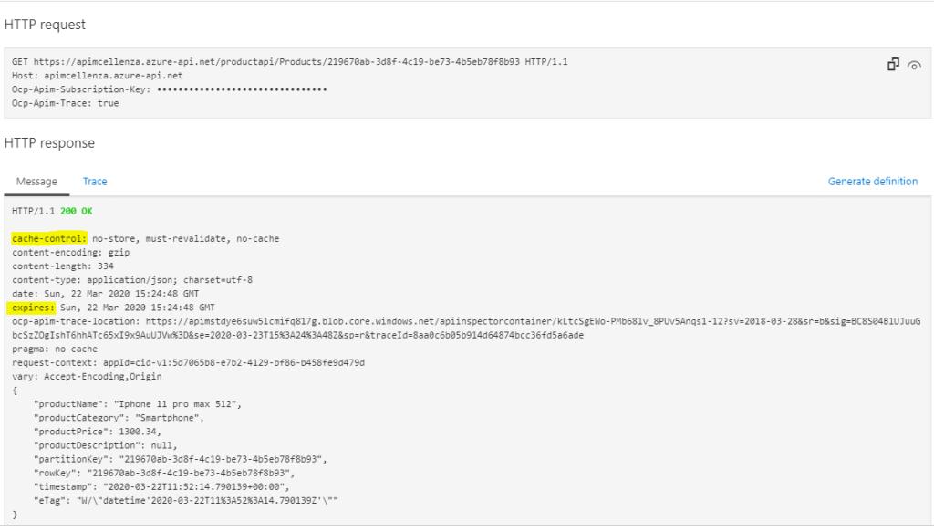 capture écran http response suite à la request